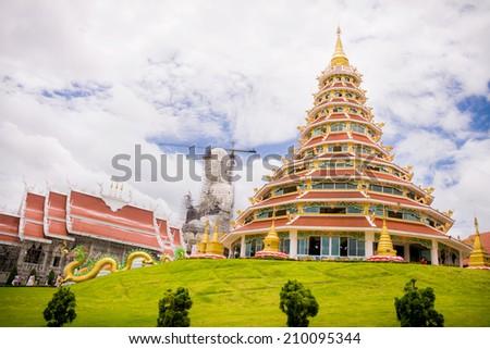CHIANG RAI, THAILAND - AUG 10 : wathyuaplakang A place where people worship. And respectable of Buddhist faith on 10 August 2014 at Baan hyuaplakang , Robwiang, Muang Chiang Rai, Thailand - stock photo