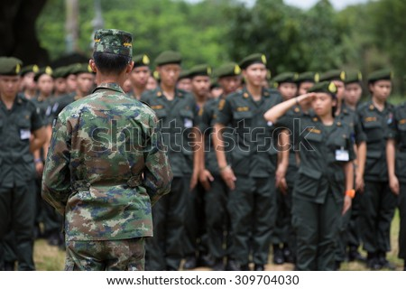 CHIANG RAI ,THAILAND-AUGUST 25:Military studentparticipate in military training arrangements.,Chiang Rai,Thailand on August 25,2015
