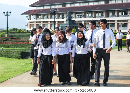 CHIANG-RAI THAILAND-DEC19 : Exchange students from several universities in ASEAN countries on December 12,2014 at Mae Fah Luang University in Chiang Rai Thailand - stock photo