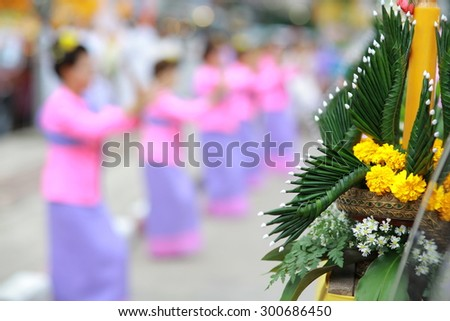 Chiang Rai, THAILAND-July 28: A group of Thai dancers perform Thai dancing in the village on July 28 2015 at Chiang Rai , Thailand.