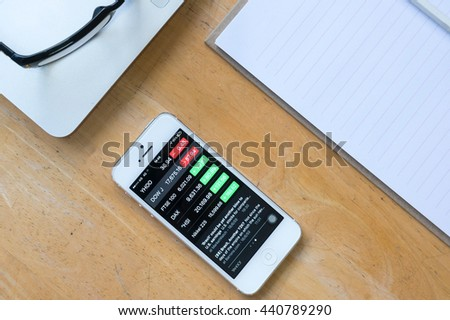 CHIANG RAI,THAILAND - JUN 19,2016: Yahoo Finance app showing on iPhone 5. Overview of stock market data from the US and major global indices featuring interesting moving stocks. - stock photo