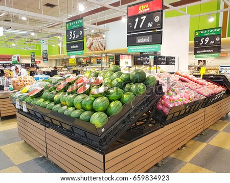 CHIANG RAI, THAILAND - JUNE 8 : fresh organic water melon sold on the shelf in supercenter on June 8, 2017 in Chiang rai, Thailand.