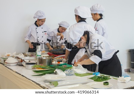CHIANG-RAI THAILAND-MAY 12: Cooking Competition School of Business Management students (Junior iron chef) on may 12, 2016 at Mae Fah Luang University , Chiang-rai Thailand.