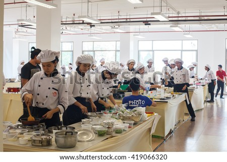 CHIANG-RAI THAILAND-MAY 12: Cooking Competition School of Business Management students (Junior iron chef) on may 12, 2016 at Mae Fah Luang University , Chiang-rai Thailand. - stock photo
