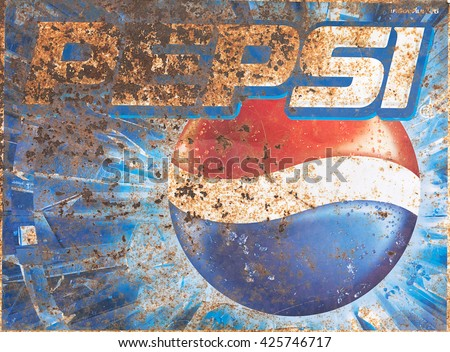 CHIANG RAI,THAILAND - MAY 12 : Old rust condition vintage wall of Pepsi logo. on MAY 12, 2014 in Chiang Rai Thailand.