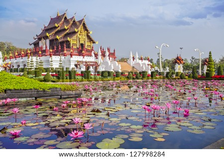 Chiangmai royal pavilion with lotus flower. - stock photo