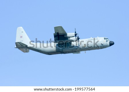 CHIANGMAI , THAILAND - APRIL 16 2009: 60106 C-130 of Royal Thai Air force. Takeoff from Chiangmai Airport.