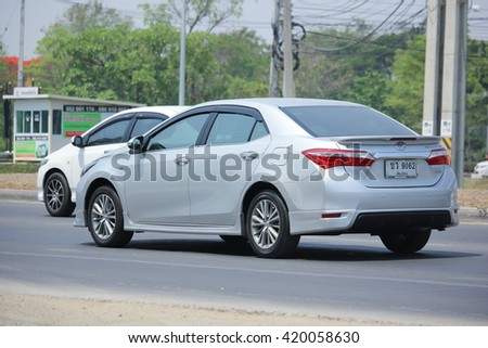 CHIANGMAI, THAILAND -APRIL 26 2016: Private car, Toyota Corolla Altis. On road no.1001, 8 km from Chiangmai city.