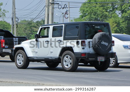 CHIANGMAI , THAILAND -APRIL 30 2015: Private jeep car, Wrangler Unlimited Sahara. Photo at road no.121 about 8 km from downtown Chiangmai, thailand.