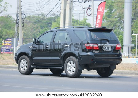 CHIANGMAI, THAILAND -APRIL 25 2016: Private suv car, Toyota Fortuner. Photo at road no 121 about 8 km from downtown Chiangmai, thailand.