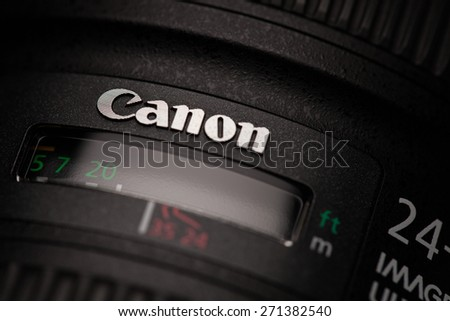 CHIANGMAI, THAILAND - April 21, 2015: The logo of Canon on lens.