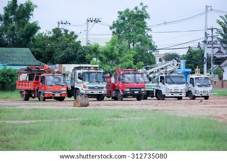CHIANGMAI, THAILAND -AUGUST 10 2015:   Fire truck and Bucket Truck of Maehia Subdistrict Administrative Organization. Chiangmai, thailand. - stock photo
