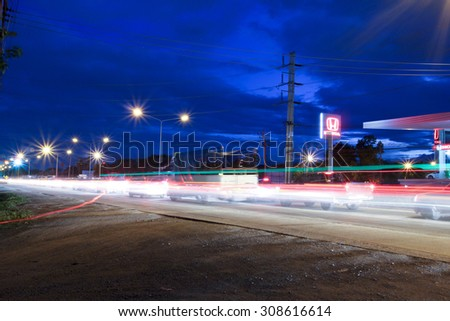 CHIANGMAI, THAILAND -AUGUST 22 2015:  Night shot of road no.121 about 8 km from downtown Chiangmai, thailand.