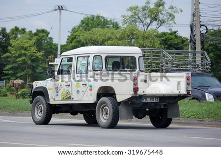 CHIANGMAI, THAILAND -AUGUST 20 2015: Old Private Land Rover Truck. Photo at road no.1001 about 8 km from downtown Chiangmai, thailand.