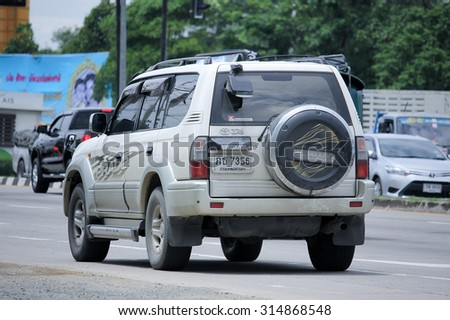 CHIANGMAI, THAILAND -AUGUST 13 2015:  Private car, Toyota Land Cruiser. Photo at road no 121 about 8 km from downtown Chiangmai, thailand.