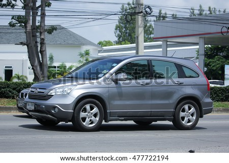 CHIANGMAI, THAILAND -AUGUST 10 2016:  Private Honda CRV , Urban Suv car.  On road no.1001, 8 km from Chiangmai Business Area.