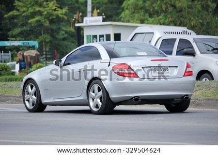 CHIANGMAI, THAILAND -AUGUST 25 2015: Private Mercedes-Benz SLK200. Photo at road no.1001 about 8 km from downtown Chiangmai, thailand.