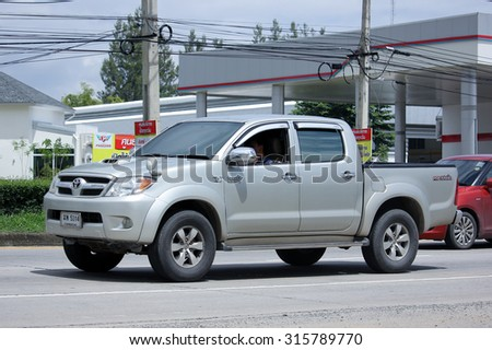 CHIANGMAI, THAILAND -AUGUST 14 2015:  Private Pick up car, Toyota Hilux Vigo. Photo at road no 121 about 8 km from downtown Chiangmai, thailand.