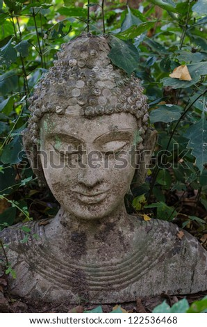 CHIANGMAI, THAILAND- 20 DECEMBER 2012 : Ancient Head Buddha statue (Made between 1400-1550 AD.) on 20 December 2012 in ancient Buddhist temple ( Wat Umong) , Chiangmai province, Thailand.