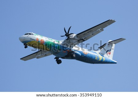 CHIANGMAI, THAILAND -DECEMBER 16 2015:  HS-PGG ATR 72-200 of Bangkok airway ,Landing to Chiangmai airport. Flight from Yangoon.
