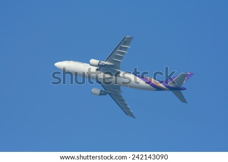 CHIANGMAI , THAILAND - DECEMBER 18 2008: HS-TAN Airbus A300-600 of Thaiairway. Takeoff from Chiangmai airport to Bangkok Suvarnabhumi, thailand. - stock photo