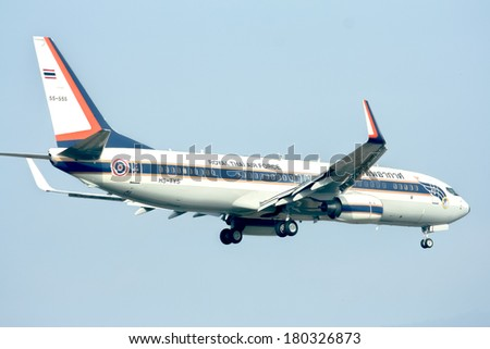 CHIANGMAI ,  THAILAND � DECEMBER  31  2011: HS-TYS Boeing 737-800 of Royal Thai Air force.  Landing to Chiangmai  Airport.