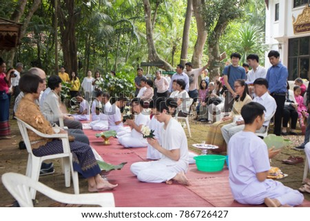 Chiangmai-Thailand. December,09,2017. Ordination ceremony at Wat Phadarabhirom Buddhist Temple in Chiang Mai Thailand.