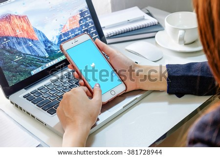 """CHIANGMAI, THAILAND -FBE 25, 2016: iPhone 6s Plus Twitter is an online social networking and microblogging service that enables users to send and read """"tweets"""" - stock photo"""