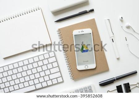 chiangmai thailand february 16 2016 apple iphone 6s white gold display google apple thailand office