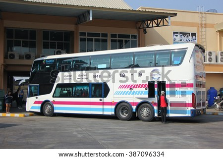 CHIANGMAI, THAILAND -FEBRUARY 13 2016:  Bus of Sombattour bus company. Route Bangkok and Chiangmai. Photo at Chiangmai bus station, thailand.