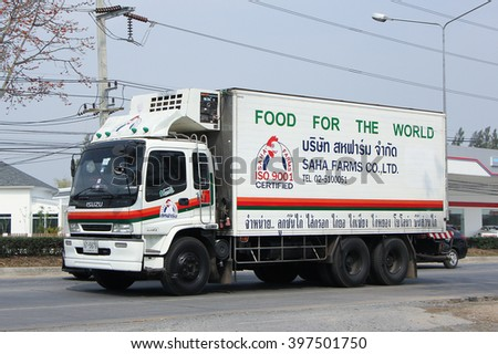 CHIANGMAI, THAILAND -FEBRUARY 25 2016:  Cargo truck of Saha Farms Company. Photo at road no.1001 about 8 km from downtown Chiangmai, thailand.
