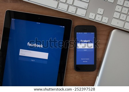 Chiangmai,Thailand - February 10, 2015: Facebook the largest social network in the world. It was founded in 2004 by Mark Zuckerberg and his roommates during training at the Harvard University. - stock photo