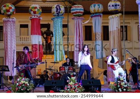 CHIANGMAI THAILAND - FEBRUARY 22 : Lanna - Japan festival 2015. Groups singer of Japanese tourists to visit. on February 22 , 2015 in Chiang Mai,Thailand. - stock photo