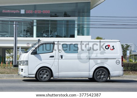 CHIANGMAI, THAILAND -FEBRUARY 2 2016:  Money delivery Van of G4S Company. Photo at road no.1001 about 8 km from downtown Chiangmai, thailand.