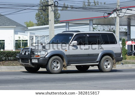 CHIANGMAI, THAILAND -FEBRUARY 8 2016:   Private car, Toyota Land Cruiser.  On road no.1001, 8 km from Chiangmai city.