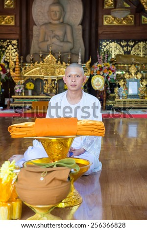Chiangmai, Thailand February 8 : series of the ordination ceremony that change the Thai young men to be the new monks at Wat Ram Poeng, Chiangmai, Thailand on February 8, 2015. - stock photo