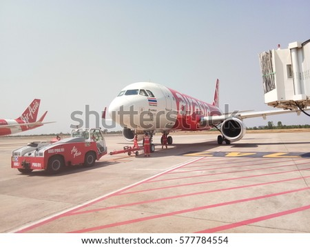CHIANGMAI, THAILAND- FEBRUARY 12, 2017: Thai air asia plane waiting flight in Chiangmai International Airport.