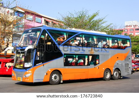 CHIANGMAI /  THAILAND  - FEBRUARY  15 2014: Transport government company  Double deck bus  route  Bangkok and Lamphun, Class 2 Bus. Photo at  Chiangmai bus station.