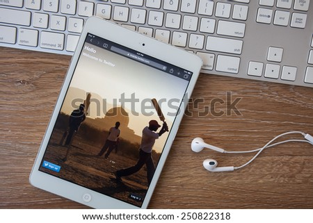 CHIANGMAI,THAILAND, FEBRUARY 8, 2015: Twitter service of microblogging is created in 2006. Twitter service for a public exchange of short messages from 140 symbols. - stock photo