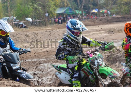 CHIANGMAI THAILAND - FEBRUARY 21: Unidentified riders in  CMRU cycle cross 2016 on Feb 21, 2016 in Sanpatong district, Chiang Mai, Thailand.