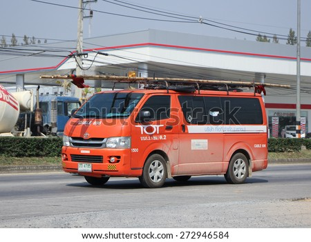 CHIANGMAI, THAILAND -FEBRUARY 2 2015:   Van of Tot company. Intenet and Telephone Service in Thailand. Photo at road no 1001 about 8 km from downtown Chiangmai, thailand. - stock photo