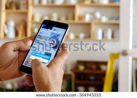 CHIANGMAI,THAILAND - JAN 20 2016 : Close-up shot of brand new Apple iPhone 6 plus with Pinterest application login on a screen. - stock photo