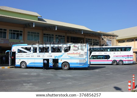 CHIANGMAI, THAILAND -JANUARY 23 2016:    Mercedes benz of Nakhonchai tour company. Route Nakhon ratchasima and Chiangmai. Photo at Chiangmai bus station, thailand.