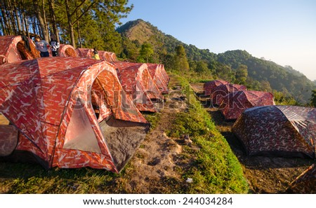 CHIANGMAI, THAILAND - JANUARY 7 : Rows of tents for tourists at Doi Ang Khang on January 7, 2015. Doi Ang Khang is a famous mountain in Fang District, Chiang Mai Province, Thailand.