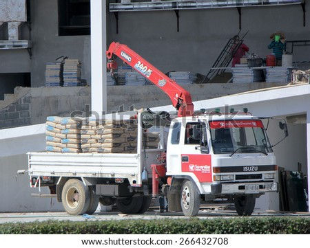 CHIANGMAI, THAILAND - JANUARY 12 2015: Truck With Crane For Cement Transportation. Photo at road no.1001 about 8 km from downtown Chiangmai, thailand. - stock photo