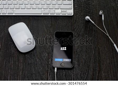 CHIANGMAI, THAILAND -JULY 31, 2015:Apple iphone 5 displaying Myspace application. - stock photo