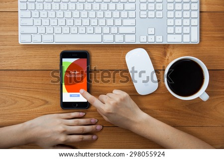 CHIANGMAI,THAILAND - JULY 17, 2015:Google+ is Google's social network service to compete with Facebook and launched in late June 2011 - stock photo