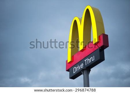CHIANGMAI, THAILAND - JULY 10, 2015: McDonalds logo with Drive Thru sign in Chiangmai - stock photo