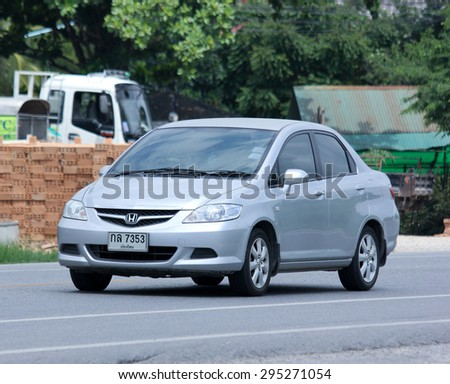 CHIANGMAI, THAILAND -JULY 2 2015: :Private car, Honda city. Photo at road no 121 about 8 km from downtown Chiangmai, thailand. - stock photo