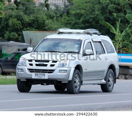 CHIANGMAI, THAILAND -JULY  2 2015: Private car, Isuzu Mu-7. Photo at road no 121 about 8 km from downtown Chiangmai, thailand. - stock photo
